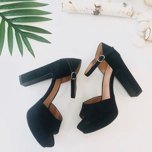 H&M black suede platform heels